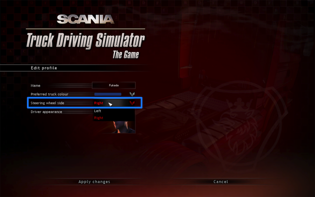 Scania Truck Driving Simulator 右ハンドルに変更